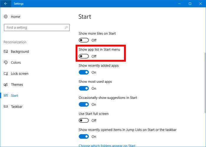 """settingsshowapplistinstart-6456497454464 Как создать """"одностолбцовое"""" меню """"Пуск"""" в Windows 10 Creators Update."""