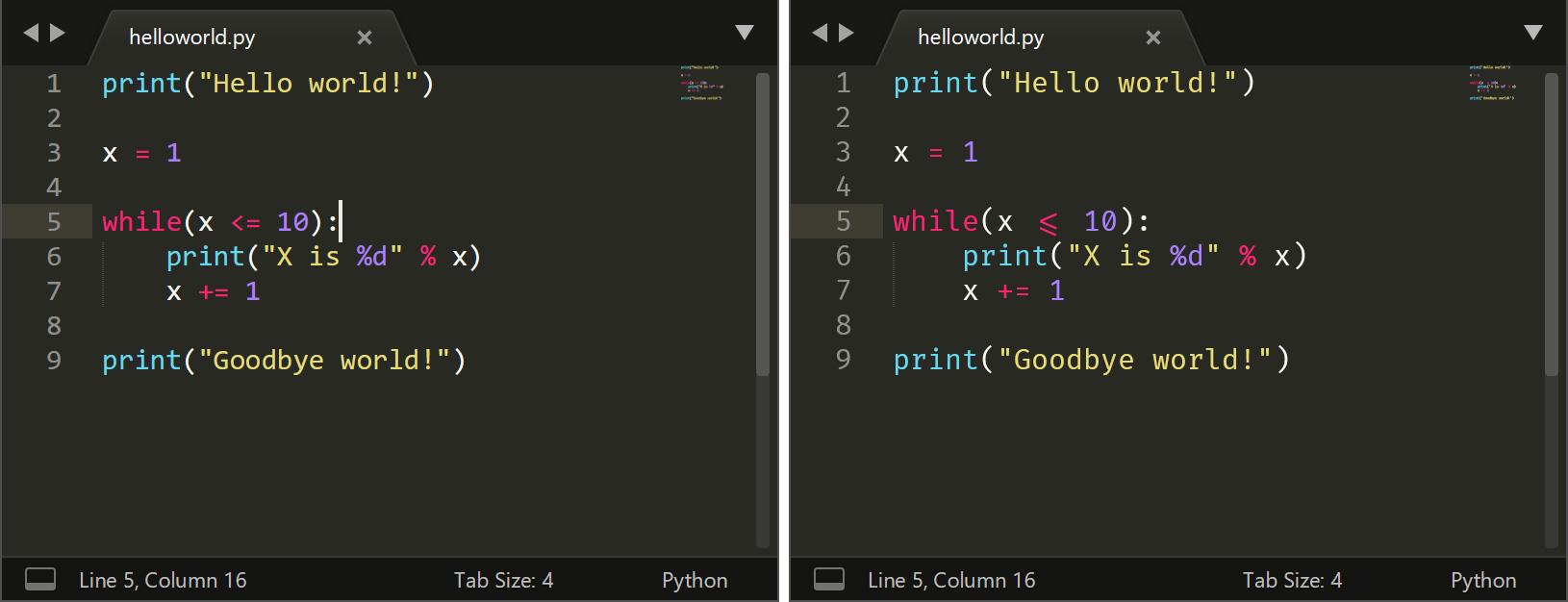 helloworld-34823904890342832 Блокнот получает поддержку * nix EOL, Sublime Text добавляет лигатуры и многое другое