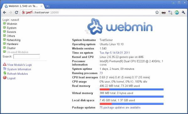 webmin Бесплатные панели управления сайтом и хостингом